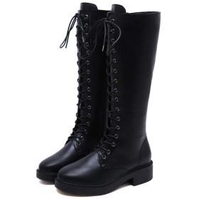 [WELLWALK] レディース ラウンド つま先 フラット ニーハイ 長靴 ブーツ マーティンブーツ ロー太いヒール付 (ブラック,36 (230))