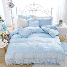 掛け布団カバー 寝具 ベッド用4点セット ベッドスカット ピローケース 枕カバー綿100%  おしゃれ 純色 ブルー 姫系 [Unusual]
