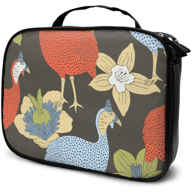 Guinea Fowl-1女性用化粧品バッグ愛らしい広々とした化粧バッグ旅行用トイレタリーバッグアクセサリーオーガナイザー