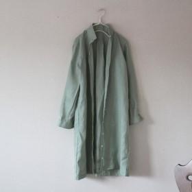 【秋冬NEW】アースグリーン リトアニアリネン100% ロングシャツワンピース