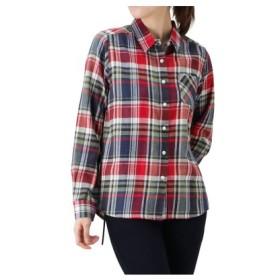(MAC HOUSE/マックハウス)Navy コットン フランネルシャツ レギュラーシャツ NG195-WF022/レディース レッド×グリーン