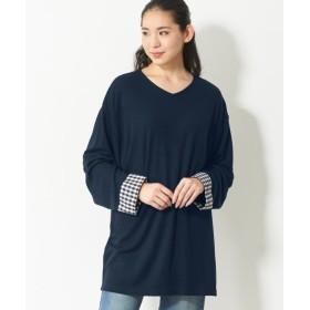 異素材使いドルマンカットソートップス (大きいサイズレディース)Tシャツ・カットソー