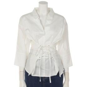 50%OFF clear (クリア) clearウエストスピンドルデザインシャツ ホワイト