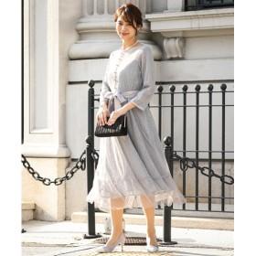 前飾りボタンチュール使いラメレースワンピースドレス【結婚式。二次会。お呼ばれ。セミフォーマル対応】<大きいサイズ有>