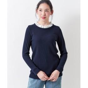 ワッフル素材の衿フリルトップス (大きいサイズレディース)Tシャツ・カットソー