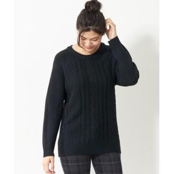 毛玉になりにくいケーブル編ゆるシルエットニットプルオーバー (大きいサイズレディース、ニット・セーター)plus size sweater