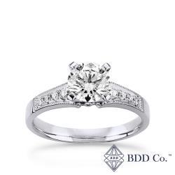 【BDD-Co.】鉑金Pt950 GIA1.01克拉 G VS2 3EX 復古宮廷式鑽石求婚戒指