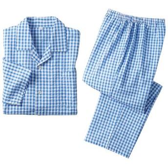 33%OFF【レディース】 綿100%サッカーシャツパジャマ(男女兼用) - セシール ■カラー:ブルー系チェック ■サイズ:3L,LL,5L