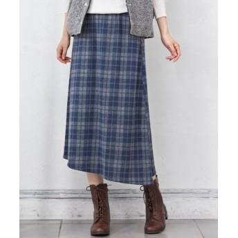 起毛カットソーアシンメトリーロング丈スカート(オトナスマイル) (大きいサイズレディース)スカート, plus size skirts, 裙子