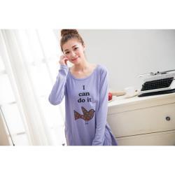 【JimmyWang】 長袖粉紫色舒適幸運鳥寬版長版上衣