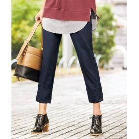 折り返しデザインクロップドパンツ(オトナスマイル) (大きいサイズレディース)パンツ,plus size