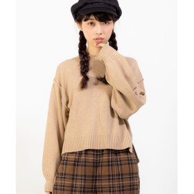 WEGO WEGO/アウトリンキングセーター(ベージュ)【返品不可商品】