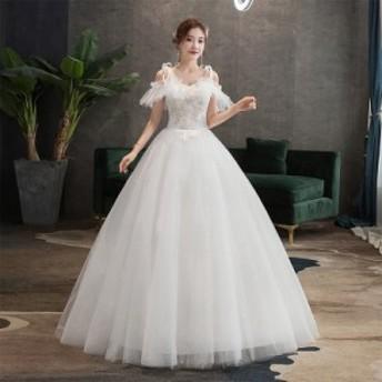 激安 韓国ファッション 花嫁ウェディングドレス 結婚式 二次会 袖あり ロングフォーマルドレス パーティードレス ホワイト白 S-3XL 撮影