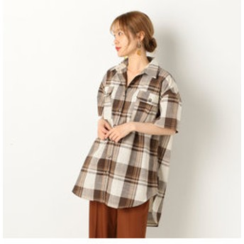【archives:トップス】A-半袖チェックチュニックBIGシャツ