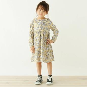 3can4on(Kids)(サンカンシオン:キッズ)/【90-140cm】衿フリル小花柄ワンピース