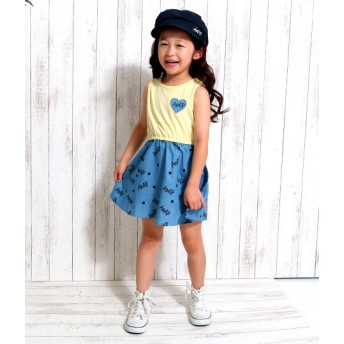 ANAP KIDS&HOME(アナップ キッズ&ホーム)/デニムプリントドッキングワンピース