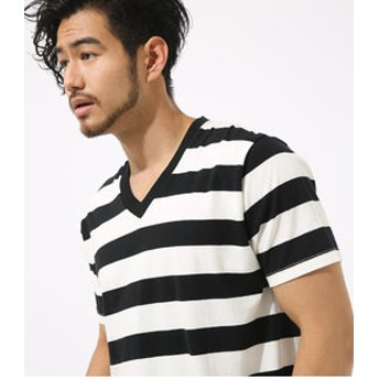 【AZUL by moussy:トップス】【MEN'S】天竺ボーダーVネック半袖T