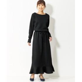裏起毛ニットソー裾フレアロング丈ワンピース(オトナスマイル) (大きいサイズレディース)ワンピース, plus size, Dress, 衣裙, 連衣裙