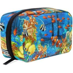 海底の世界 化粧ポーチ メイクポーチ 機能的 大容量 化粧品収納 小物入れ 普段使い 出張 旅行 メイク ブラシ バッグ 化粧バッグ