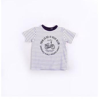 【BEBE ONLINE STORE:トップス】天竺ボーダー自転車プリントTシャツ