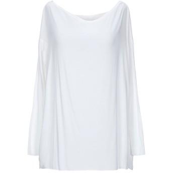 《セール開催中》EMMA & GAIA レディース T シャツ ホワイト one size レーヨン 90% / ポリウレタン 10%
