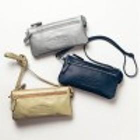 本革×光沢ナイロンのお財布ショルダーバッグ