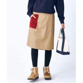 裏フリースラップ風リバーシブルひざ丈チノスカート (大きいサイズレディース)スカート, plus size, Skirts, 裙子