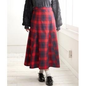 チェック柄切替ロングフレアスカート (大きいサイズレディース)スカート,plus size