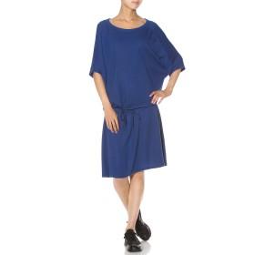 【60%OFF】ブラウジング 五分袖 ドルマン ドレス ブルー 2xs