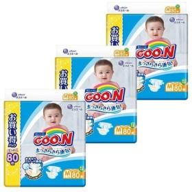 (すくすくセール)オムツ おむつ 紙おむつ 3個セット グーン テープ M (6〜11kg) 240枚(80枚×3) まっさらさら通気 ケース販売 大王製紙 (D)