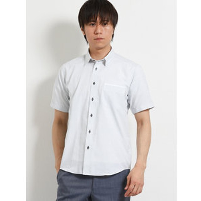 【TAKA-Q:トップス】ジャガード下前立切替レギュラーカラー半袖シャツ