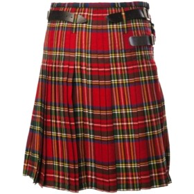 chenshiba-JP Women's Summer High Waist Pleated Cotton Plaid Skirt With Belt Red M