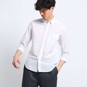 TAKEO KIKUCHI(タケオキクチ:メンズ)/綿麻 シャドー ストライプ 七分袖 シャツ