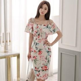 韓国 ファッション ワンピース ショート丈 オフショルダー 半袖 花柄 大人可愛い セクシー フェミニン ガーリー 春夏
