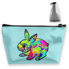 カラフルな兎 化粧ポーチ メイクポーチ コスメポーチ 化粧品収納 ミニ 財布 小物入れ 軽い 軽量 防水 旅行も携帯便利 多機能 バッグ 小さな化粧品の袋