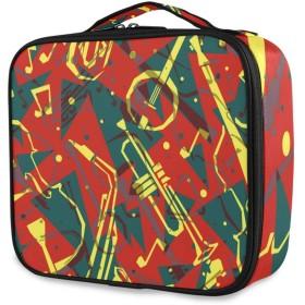 KAPANOU プロ用 メイクボックス 楽器のシームレスなパターンジャズ背景 多機能 高品質 美容師 マニキュリスト 刺青師 専用 化粧ボックス メイクアップアーティスト 収納ケース メイクブラシ 化粧道具 大容量