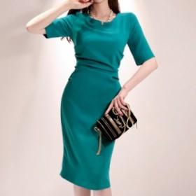 韓国 ファッション ワンピース ひざ下丈 半袖 大人可愛い フォーマル セクシー フェミニン 春夏 結婚式 二次会