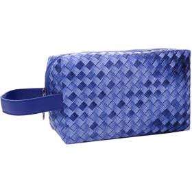 トラベルトイレタリーバッグ化粧ポーチポータブル化粧バッグ女性女の子ブルーのために編んだポーチを設定します