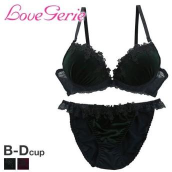 (ラブジェリー)Love gerie ベロア ケミカル刺繍 3/4カップ ブラジャー ショーツ セット BCD