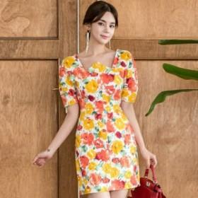 韓国 ファッション ワンピース ミニ丈 半袖 花柄 大人可愛い フェミニン ガーリー 春夏 二次会 お呼ばれ