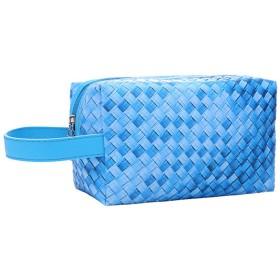 トラベルトイレタリーバッグ化粧ポーチポータブル化粧品袋は女性の女の子のコーヒーのために編んだポーチを設定します