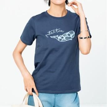 【レディース】 プリントTシャツ(S-5L・綿100%・半袖) - セシール ■カラー:ミッドナイトブルー ■サイズ:3L,4L-5L