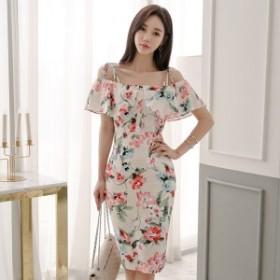韓国 ファッション ワンピース ひざ下丈 オフショルダー 半袖 花柄 大人可愛い セクシー フェミニン ガーリー 春夏
