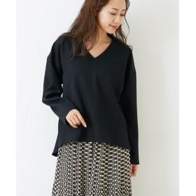 ウール調素材シンプルなVネックブラウス (ブラウス),Blouses, Shirts