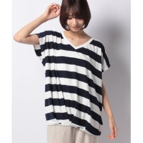 (KOBE LETTUCE/神戸レタス)裾タックゆったりトップス(Vネック)/レディース オフ×ネイビー