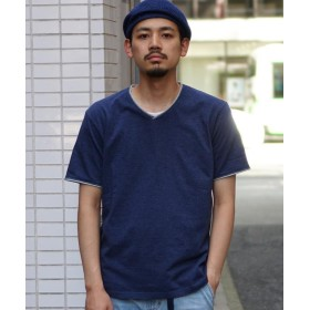【40%OFF】 ビームス メン BEAMS / ダブル カラー カットオフ Vネック Tシャツ メンズ NAVY XL 【BEAMS MEN】 【セール開催中】