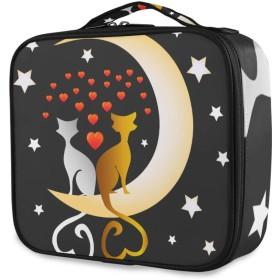 KAPANOU プロ用 メイクボックス かわいい猫ブラックトムキャットホワイトプッシーキャット 多機能 高品質 美容師 マニキュリスト 刺青師 専用 化粧ボックス メイクアップアーティスト 収納ケース メイクブラシ 化粧道具 大容量