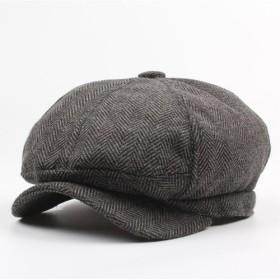 グレー キャスケット メンズ ( リンボーン柄 ) ハンチング帽 キャップ つば付き ベレー 帽