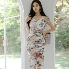 韓国 ファッション ワンピース ひざ丈 Vネック 半袖 花柄 大人可愛い セクシー フェミニン ガーリー 春夏