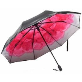 折りたたみ傘 花柄 日傘 晴雨兼用 照り返し 防止 遮光 遮熱 UPF50 UV 紫外線 99% カット 大型 96cm レディース 8本骨 白赤 水彩(白赤(
